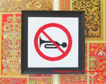 No Horns Road Sign Cross Stitch Pattern PDF