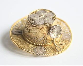 Vintage hat brooch. Silver hat brooch. Filigree brooch