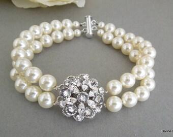 Pearl Rhinestone Bracelet, Bridal Bracelet, Rhinestone Bridal Bracelet, Swarovski Pearls, Statement Bridal Bracelet, Bridal Cuff, ALEXANDRA