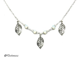 Necklace, opaline, leaf, nature, pearl, celtic, wicca, pagan, elven