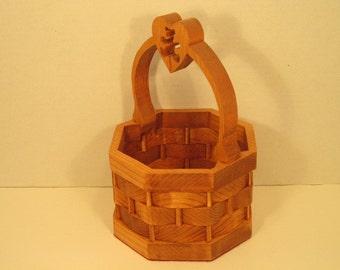Basket With Heart & Bear in Handle Handmade