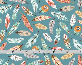 Coral & Teal Feather Fabric, Feather Quilt Fabric, Studio E Camp-A-Long Critters 4005 67, Southwestern, Native American, Cotton Yardage