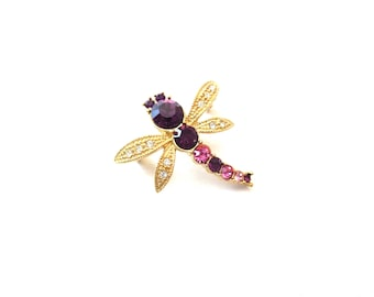 Unmarked Vintage Gold Tone Metal Alternating Purple & Pink Rhinestone Dragonfly Insect Pin / Brooch