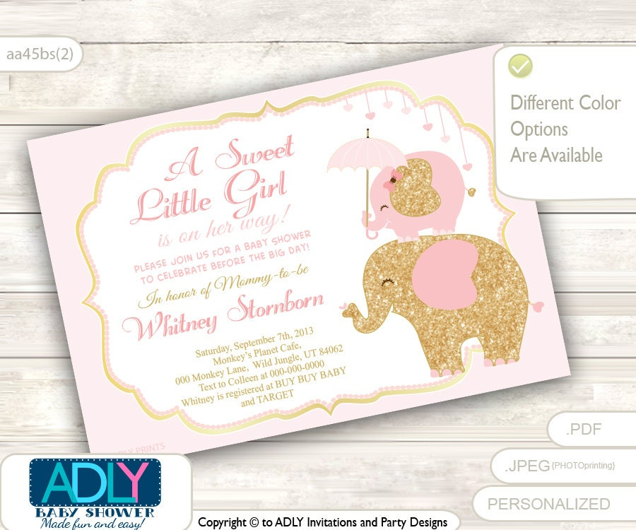 Powder Pink Gold Elephant Baby Shower Invitation A sweet