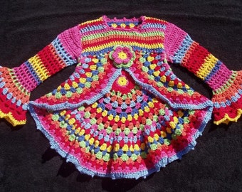 Gorgeouse crochet sweater -  HiPPie Pulli 3/4 years 98-104 * 100% cotton *