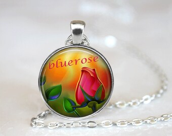 Glass Tile Necklace Rose Necklace Glass Tile Jewelry Rose Jewelry Sun Necklace Sun Jewelry Flower Jewelry Flower Necklace Brass Jewelry