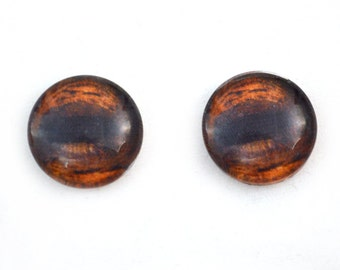 8mm Brown Glass Horse Eyes - Taxidermy Eyes for Doll or Jewelry Making - Set of 2