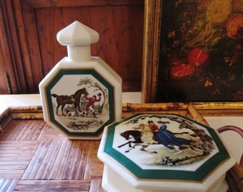 Elizabeth Arden Southern Heirlooms Trinket Box and Flask, 1980's Porcelain, Ralph Lauren Style, Vanity Table Decor