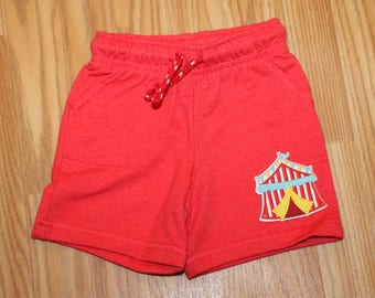 Circus Tent First Birthday Baby Boy Red Shorts