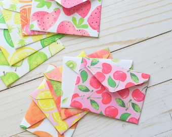 Fruit Mini Cards // Set of 10 // Blank Cards // Gift Card Envelopes // Watercolor // Love Notes // Advice Cards // Guestbook
