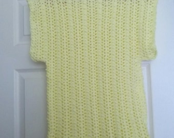 Crochet Tank Top - Scalloped Top - Summer Top for Ladies and Girls Size Medium - Color Yellow