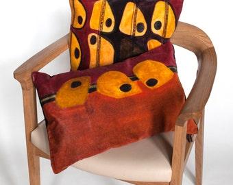Designer  Pillow / Throw Cushion / Modern Pillow / Orange Velvet Cushion / Artistic Scatter Pillow
