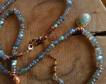 Labradorite Necklace, AAA Labradorite, Blue Flash gem stones, with Scarab Charm in 14K gold.