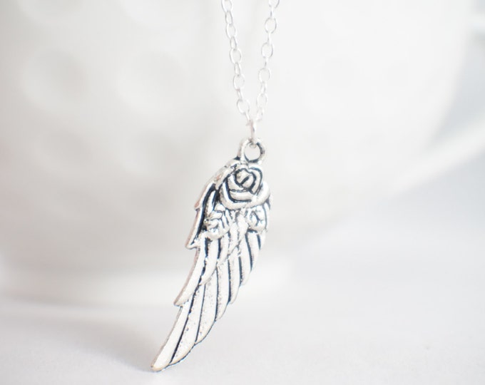 Angel wing necklace - memorial necklace - tiny wing necklace - tiny angel wing necklace - Angel wing jewelry - angel wing with rose