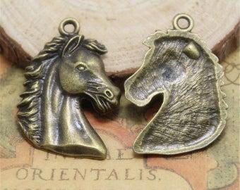 6 PCs  Horse Head Charm Horse Pendants, Horse bronze tone pendant 43*29MM ASD0164C