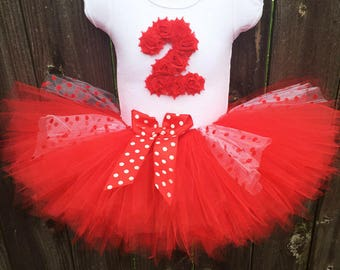Red Polka Dot Tutu Outfit with Matching Headband for 2nd Birthday | Second Birthday Birthday Outfit
