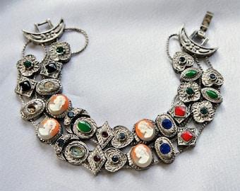 Slide Bracelet Vintage Double Strand Victorian Revival Antique? Silver Tone Cameo Rhinestone Enamel