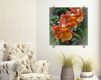 Orchid Photograph, Rustic Orange Red Flower, Orchid Art Photo Print, Dining Room Decor, Botanical Floral Bedroom  Picture, Square Wall Art