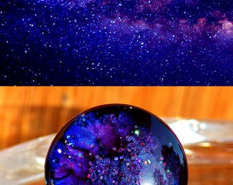 """Cabochon round glass Dome 2 cm """"(0.78) space Theme - coloring fathers multicolor Iridescent Cosmic night starry Blue Purple"""