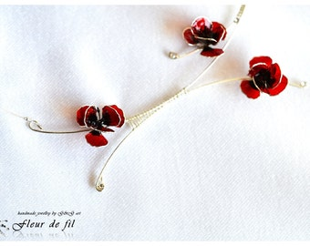 """Handmade Necklace - """"Poppies"""", Sterling silver necklace, Copper wire, Crystal resin necklace, Red necklace"""