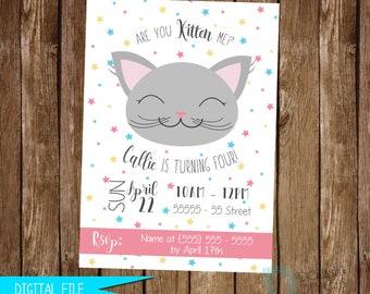 Cat Invitation, Kitty Birthday, Cat Birthday Party, Kitty Birthday Invitation, Printable Invitation, Birthday Invitation, Cat Invite