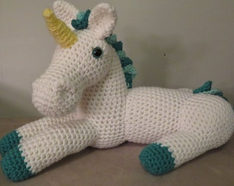 Unicorn amigurumi pattern, toy unicorn pattern, laying down unicorn, plush unicorn, large big stuffed animal, unicorn doll, soft toy, pony