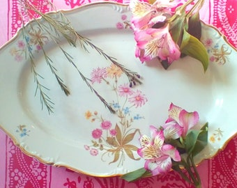Wildflower Gold Rimmed Serving Platter by Edelstein Bavaria Maria Theresia Lorraine Pattern