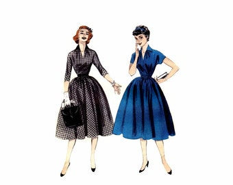 1950s Misses Full Skirt Dress Butterick 7123 Vintage Sewing Pattern Size 13 Bust 31