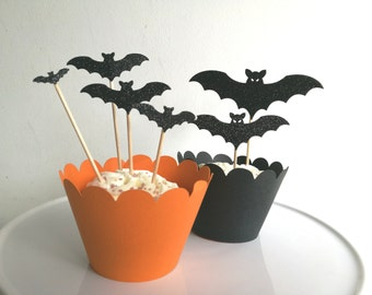 Halloween Bats Party Cupcake Toppers Black Glitter x 12