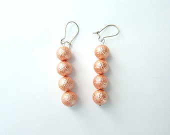 Vintage Metallic Peach Textured Beads Stacked Earrings Silver Plated Kidney Ear Wires