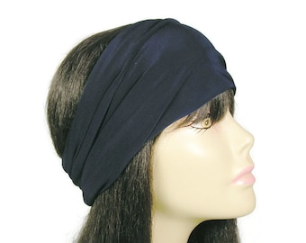 "Navy Blue Head Wrap Navy Head Wrap Navy Blue Lycra Head Wrap Navy Blue Headband Navy Headband Wide Headband ""Stay in Place"" Lycra Head Wrap"