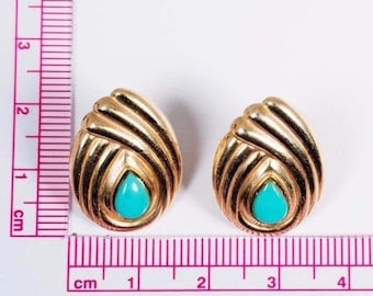 14K Yellow Gold Pear Shaped Turquoise Earrings