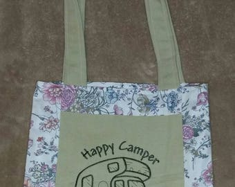 Happy camper rv reversible tote bag handmade embroidered book bag  shopping bag reusable grocery bag craft tote