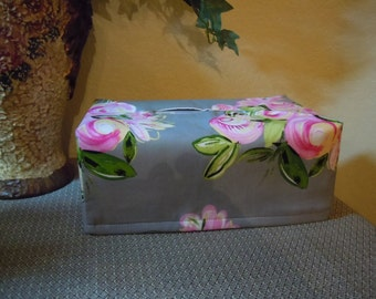 Ready To Ship -   Silver Grey with Pink Flowers - Fabric Tissue Box Cover for Kleenex Ultra Long Box