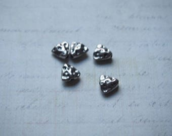 5 beads triangle in silver 9, 5 x 9, 5mm