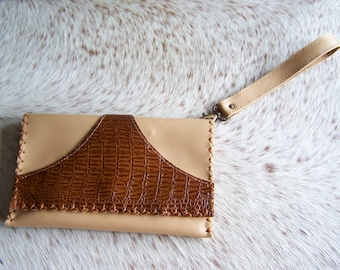 Clutch in Tan Leather, and cognac croco, small beige, simple and chic leather bag, mini purse