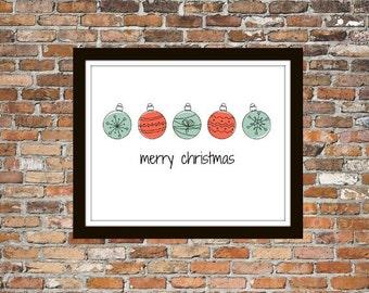 Whimsical Christamas - Merry Christmas, Merry Christmas Art, Christmas Wall Art, Christmas Print, Christmas Art, Red and Blue, Red Christmas