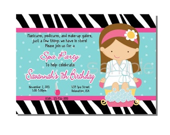 Spa Party Invitation Birthday - DIGITAL or PRINT YOURSELF