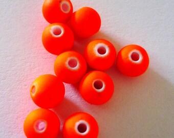 8 pearls fluorescent orange 6mm round