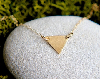 SALE, Triangle Necklace, Gold Triangle Necklace, Hammered Triangle Necklace, Geometric necklace, Triangle Layering Necklace, Dainty Necklace