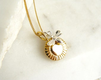 Gold sunflower and silver bee charm necklace