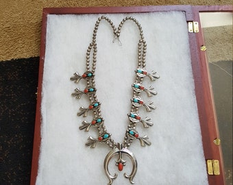 Navajo Sterling Silver Turquoise & Coral 1960s Squash Blossom Necklace 255g