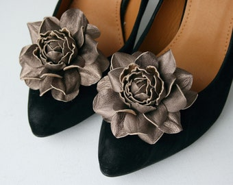 Metallic Leather Rose Flower Shoe Clips
