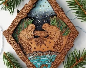 Beaver Art Wall Hanging / Canadian-Inspired Mini Art ornament / Wooden Art / Custom engraved gift / Living room decor