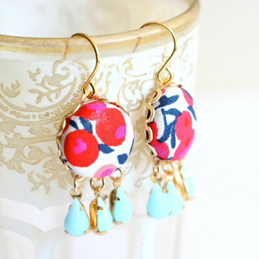 Colorful chandelier earrings floral chandeliers vintage zoom arubaitofo Images