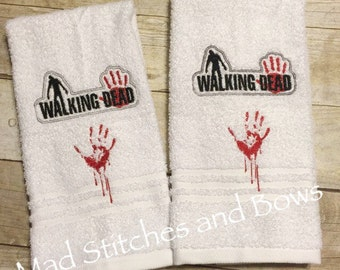 Custom embroidered The walking Dead hand towels set of 2