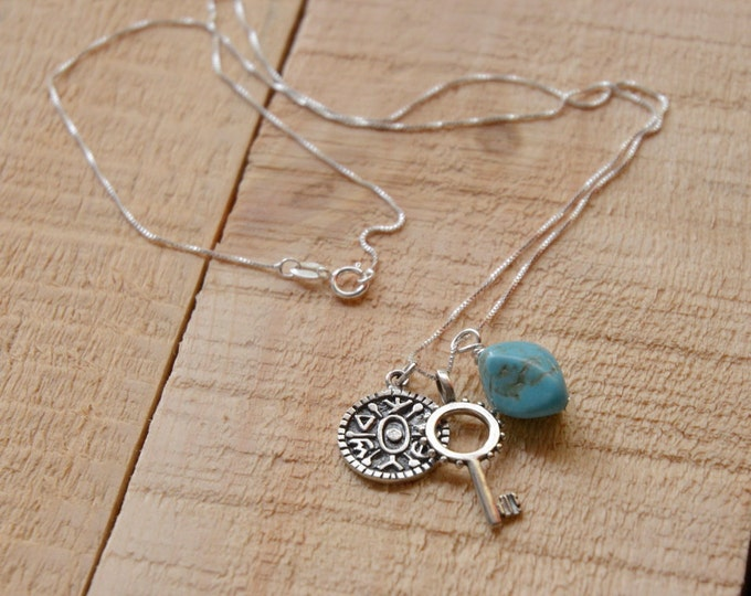 Turquoise Gate Opening Key Necklace for Men & Women