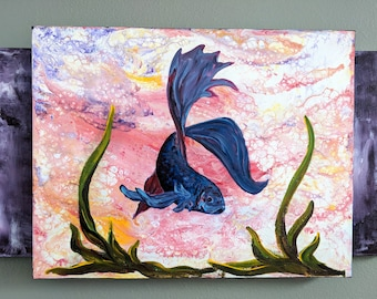 Original Wall Art Abstract Fish Painting on Canvas, ready to hang (Fighting Fish)