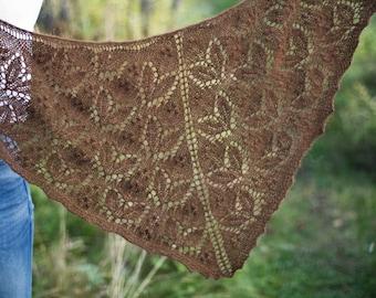 Peaberry - pattern for triangular shawl, alpaca wool crescent coffee bean leaf yarn knitting