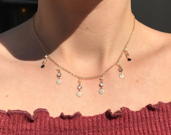 14KT Gold Filled Ethiopian Welo Fire Opal Cubic Zirconia Coin Necklace dangle necklace shake necklace